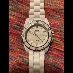 Men's worn one time Adidas Watch, white with white silicone strap.